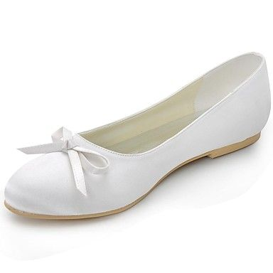 Women's Spring Summer Fall Ballerina Satin Wedding Party & Evening Casual  Flat Heel BowknotBlack Blue Yellow Pink Purple Red Ivory White
