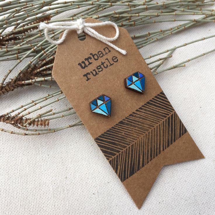 Blue Diamond wooden stud earrings