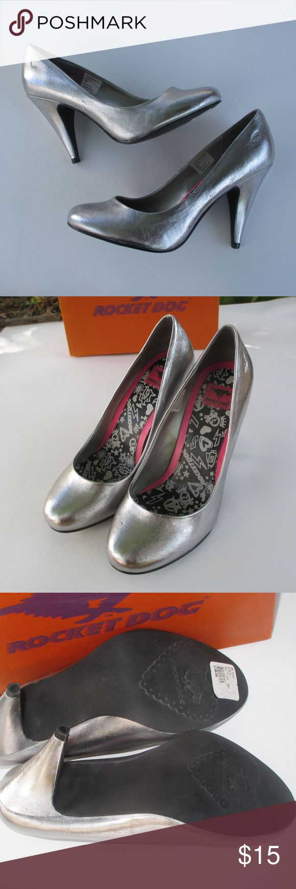 """Rocket Dog 8 Silver Heels Metallic Faux Leather Embossed Rocket Dog logo near heel - very cute!   Classic style pumps with a rounded, closed toe.   Heels are just under 4"""".  Very good condition, original box is included. Rocket Dog Shoes Heels"""