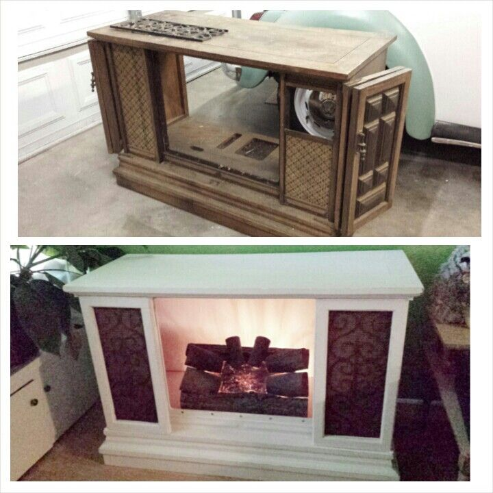 upcycled vintage television into a fake fireplace