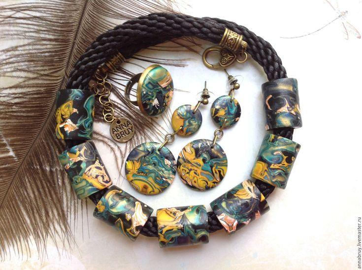 Купить Комплект украшений колье, кольцо и серьги из полимерной глины - комбинированный, комплект украшений