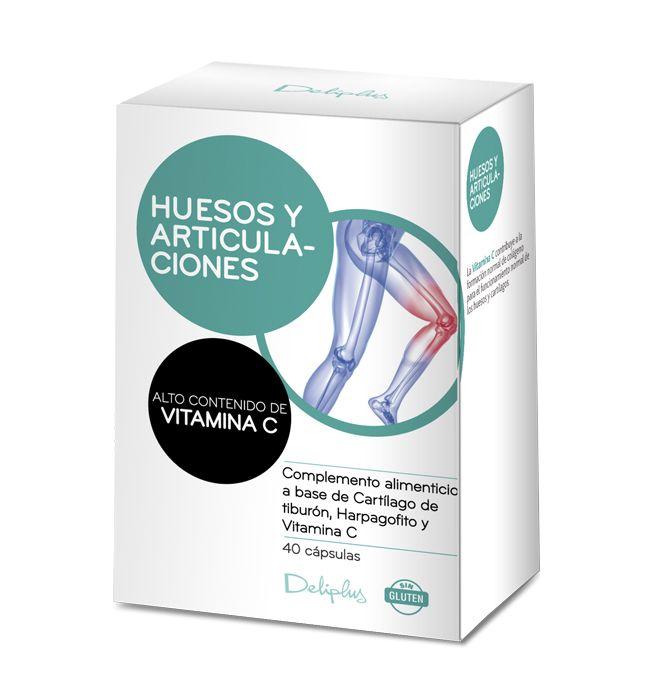 HUESOS Y ARTICULACIONES Complemento alimenticio a base de Cartílago de tiburón, Harpagofito y Vitamina C.  La Vitamina C contribuye a la formación normal de colágeno para el funcionamiento normal de los huesos y cartílagos. 40 cápsulas.