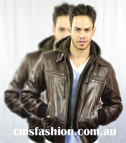 Bomber style leather jacket with detachable hood #leather #mensfashion #fashion #menswear #mensjackets #casualjacket #leatherjacket www.cmsfashion.com.au