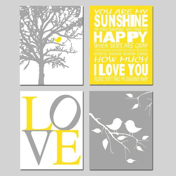 Yellow Gray Nursery Art  Baby Bird Sunshine Quad  Set by Tessyla, $65.00