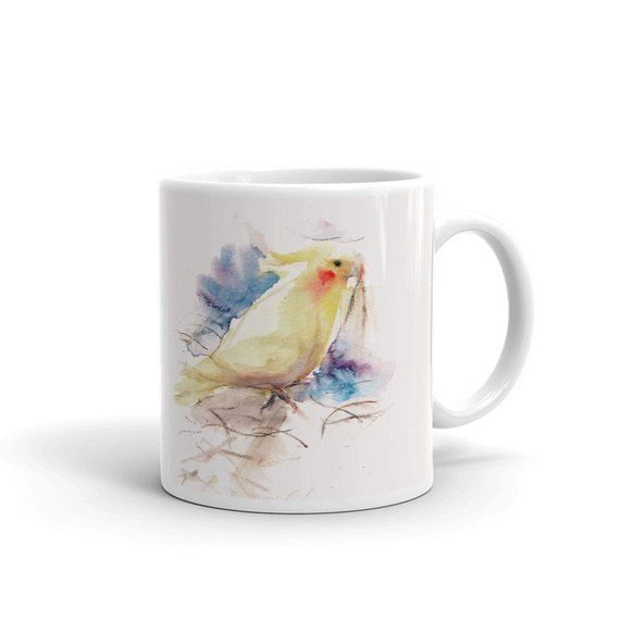 Watercolor Mug Bird White Glossy Coffee Mug Mugs