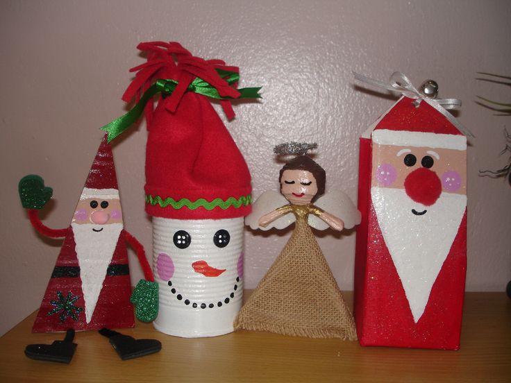 Adornos navide os reciclados con latas peri dico cart n y tetra pak cajas de jugo - Adornos navidad reciclados para ninos ...