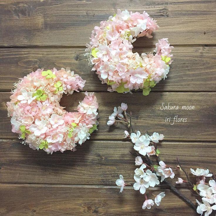 iriflores #イリフローレス #三日月リース ナチュラルリース/プリザーブドフラワー/リース/ペアリース#ピンク #ナチュラル/桜 #クレッセント/贈呈品/フラワーギフト/記念日/オシャレ/ウェディング/結婚式/新築祝い/ウェルカムスペース/結婚祝い/野花/両親へのプレゼント/ウェルカムボード/インテリア