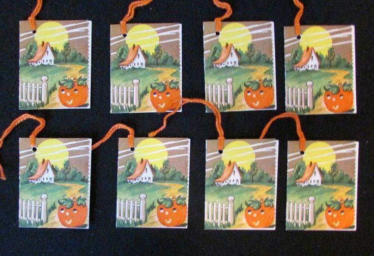 8 used Autumn Bridge Tally Score Cards Pumpkin Jack o Lantern ($16) 2017 #vintage #Halloween #collectibles #games