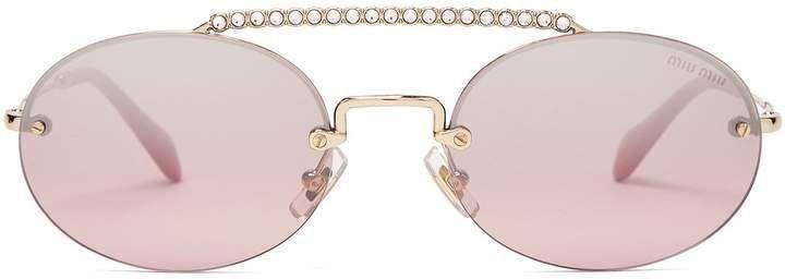 191209c64a MIU MIU Crystal-embellished oval sunglasses  glasses  sunglasses  lunettes   frame  style  fashion  accessories  affiliate  mystyle  shopstyle   womensfashion