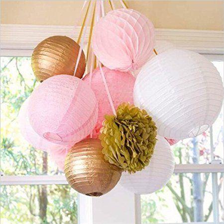 SUNBEAUTY Pacchetto di 11 pezzi 8 '' (20 cm) White Rose dell'oro Balls & lanterne di carta a nido d'ape e Pom Pom fiori di carta per la festa di compleanno decorazione di nozze Natale Pasqua San San Valentino
