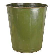 Olive Green Industrial Waste Paper Basket by Witt c1940s | Restored Lighting, Antiques & Vintage Finds from Rejuvenation