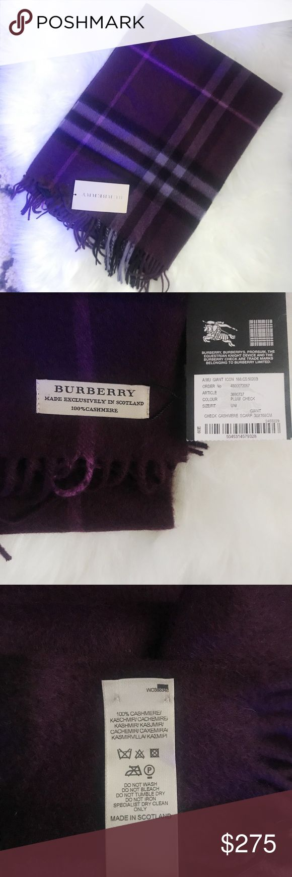 Burberry Giant Icon Check Cashmere Scarf Plum Authentic Burberry Giant Icon Check 100% Cashmere Scarf in Plum Check. Made in Scotland. 30 x 168 cm. Article # 3690737 Burberry Accessories Scarves & Wraps