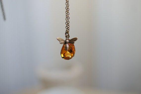 Honey Bee Necklace Golden Topaz Drop  Antiqued by MyBijouxDesign