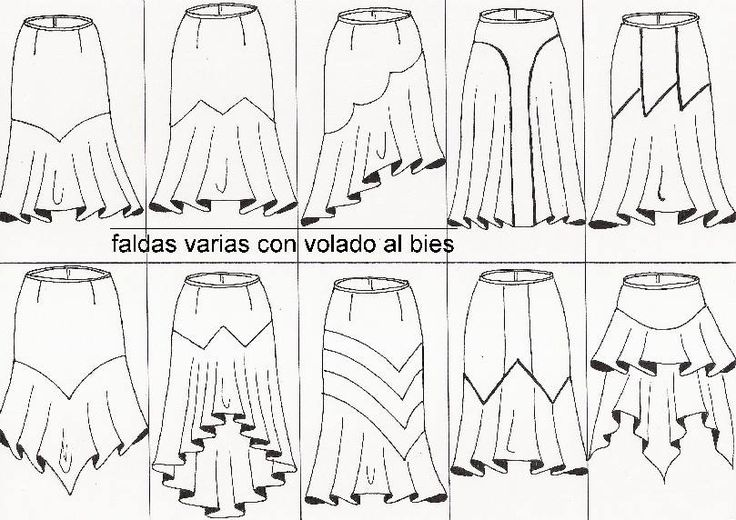 several versions of flared skirts with bias cut hem