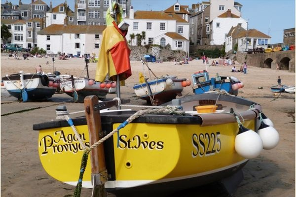 St Ives fishing boat in the harbour.