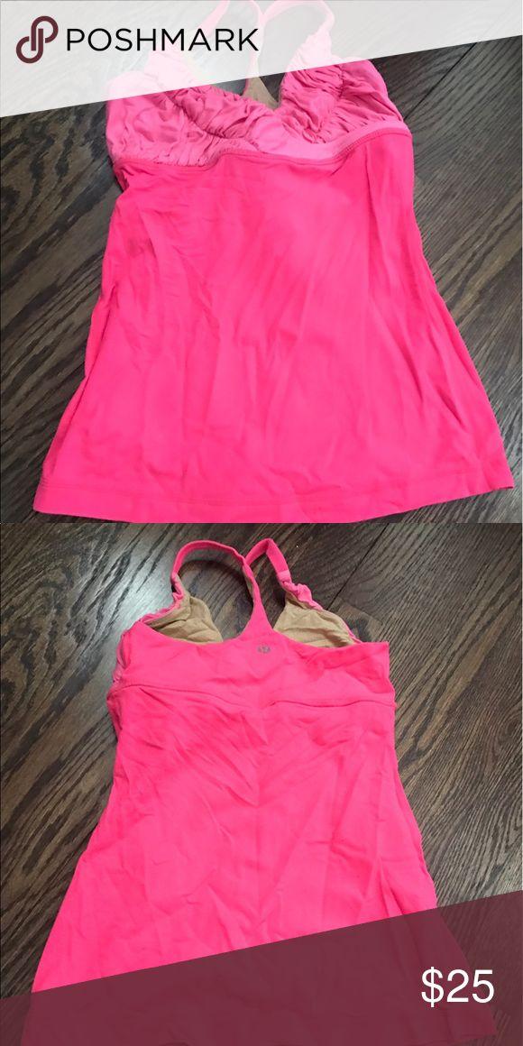 Lululemon size 4 built in bra tank **hot pink** Lululemon v-cut tank with built in bra. Form fitting. Good condition. lululemon athletica Tops Tank Tops