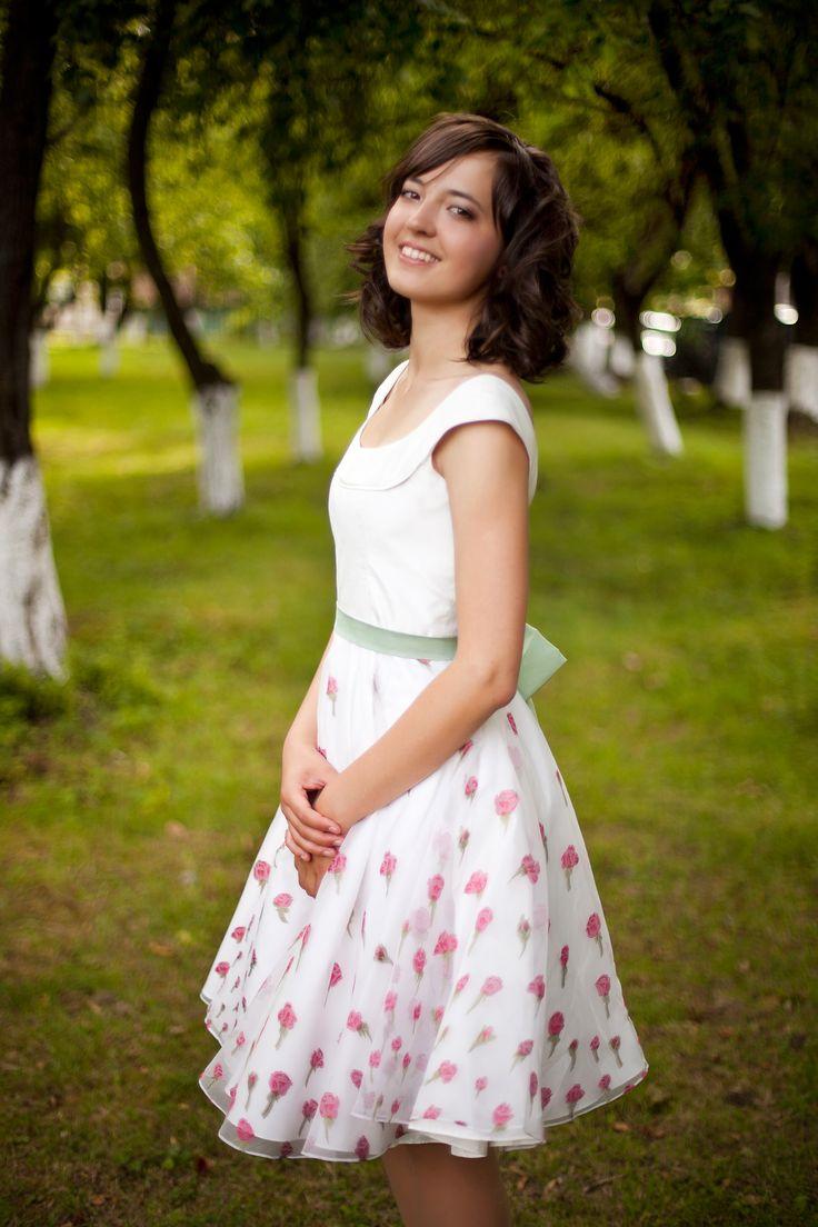 Платье для выпускного из шелка тусса и органзы Valentino