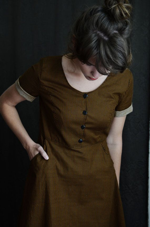 short sleeve pinstripe brown dress | fall autumn style