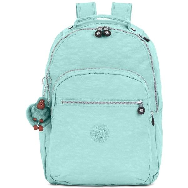 Kipling Seoul Backpack ($114) ❤ liked on Polyvore featuring bags, backpacks, seafoam green, green laptop bag, laptop pocket backpack, nylon backpack, kipling backpack and green backpack