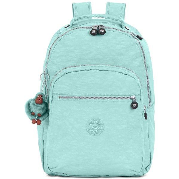 Kipling Seoul Backpack ($114) ❤ liked on Polyvore featuring bags, backpacks, seafoam green, water resistant backpack, laptop bag, nylon backpack, green laptop bag and kipling