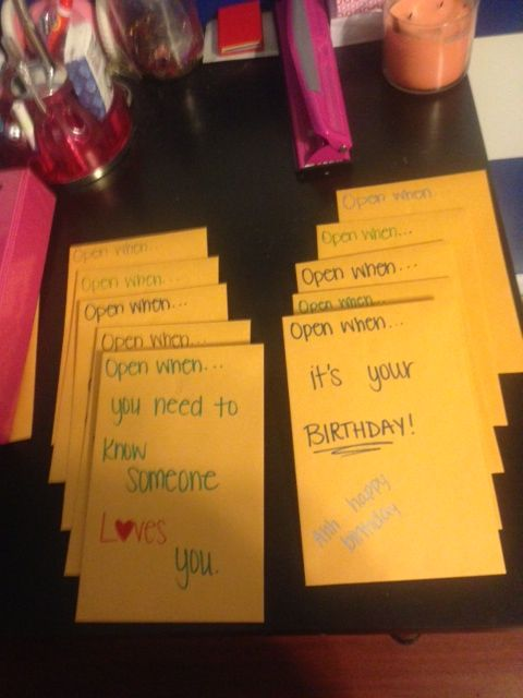 """Miranda: """"One of my best guy friends is moving to New York to pursue his dream of becoming a pharmacist. I am so proud of him. So I started thinking of a going away present that I get him. I came across these """"Open When"""" letters. I knew I wanted to make these for him…"""""""