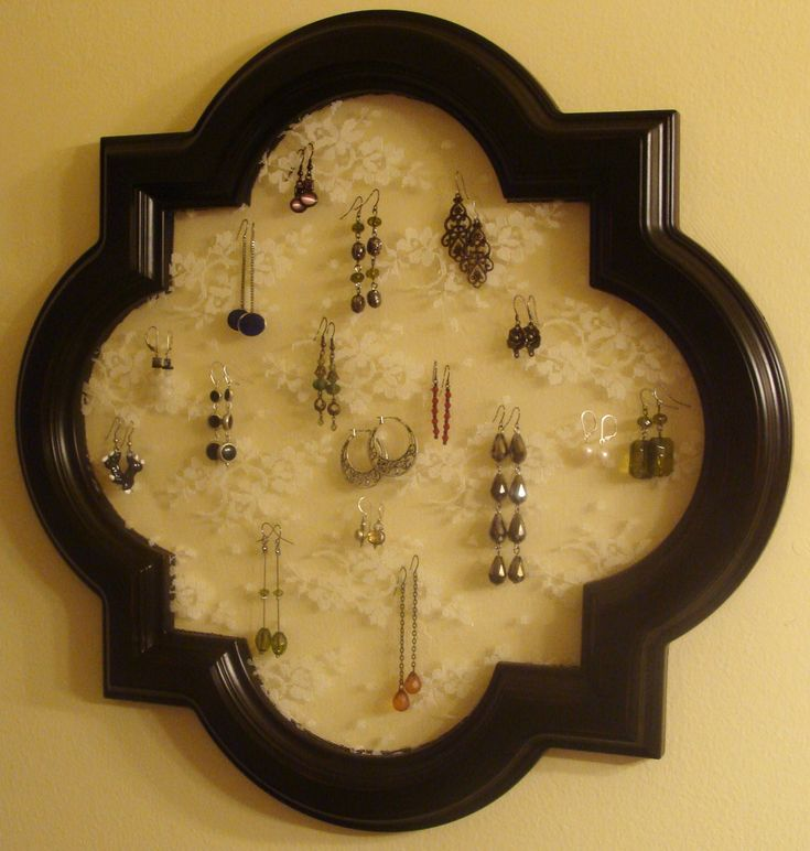 Homemade earring holder...frame from a mirror and lace! I especially love this frame shape.