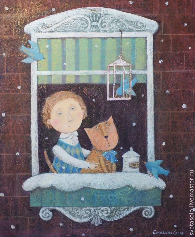 Купить Зимнее утро - коричневый, зима, утро, Снег, кот, птички, радость, уют