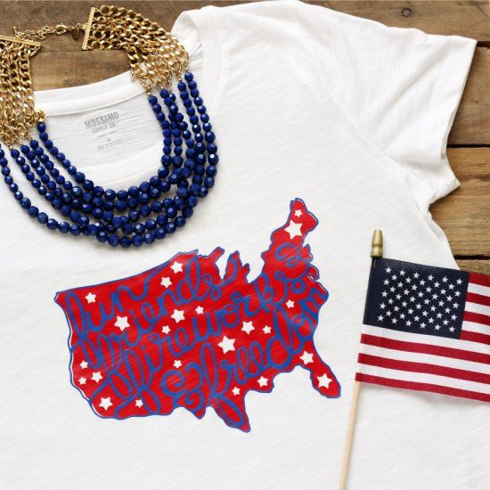 Be festive for the Fourth with a DIY Patriotic tee that you can craft up quickly with your Silhouette and HTV.  Free cut file in post!