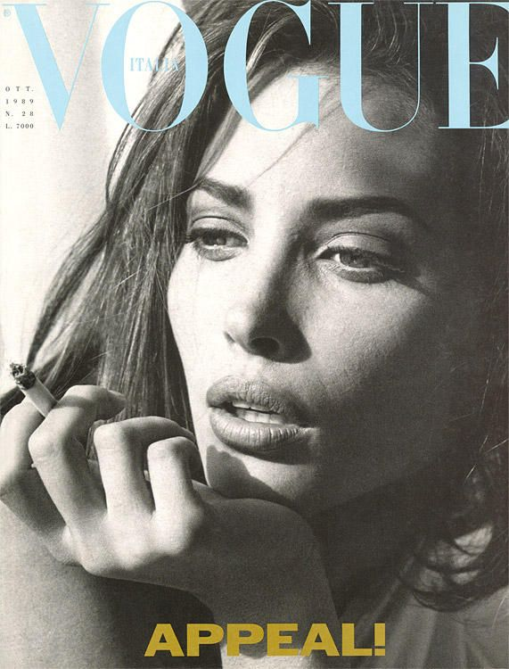 Vogue Italy cover with Christy Turlington - October 1989. This woman is so freaking beautiful