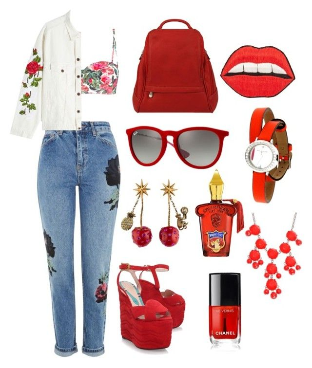 """Casual red #38"" by dimont ❤ liked on Polyvore featuring Topshop, Dolce&Gabbana, Gucci, Off-White, Le Donne, Xerjoff, Happy Embellishments, Ray-Ban, Baume & Mercier and New Directions"