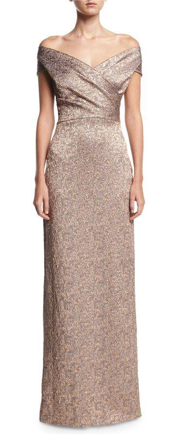 Off The Shoulder Metallic Jacquard Evening Gown By Rickie Freeman For Teri Jon In Rox