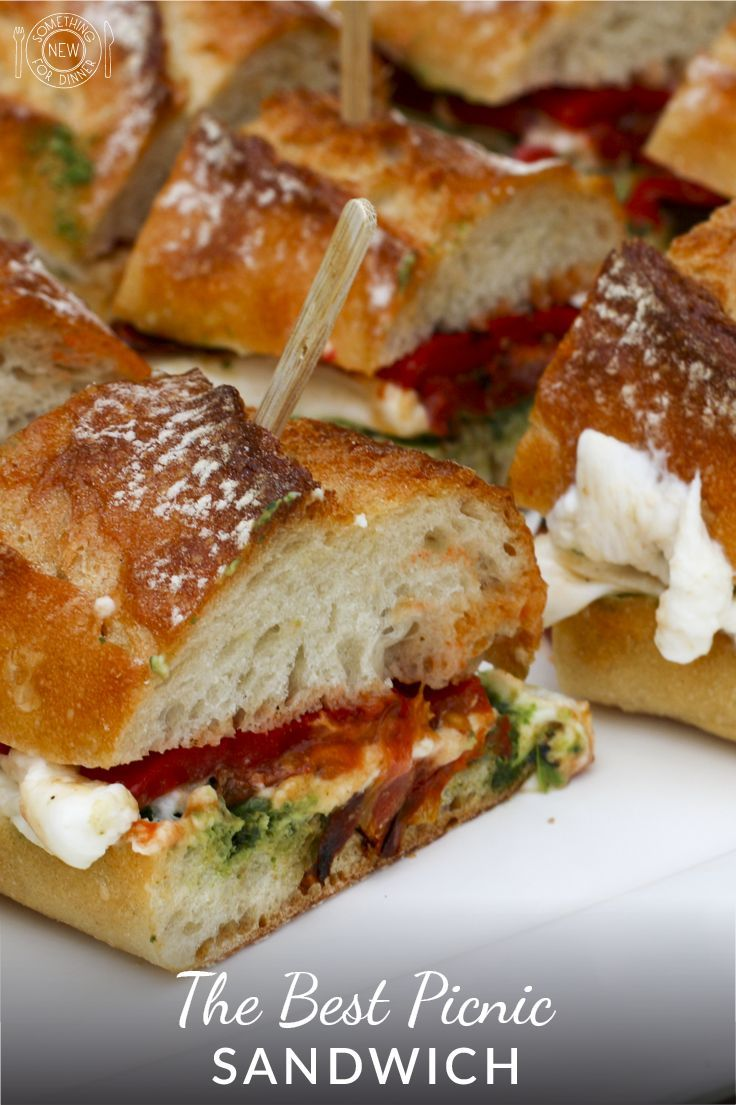 This quick sandwich made with roasted tomatoes, pesto and burrata is the perfect picnic meal, but also can be used as an appetizer or for a lunch or dinner at home. Make it in advance so the flavors can meld. More