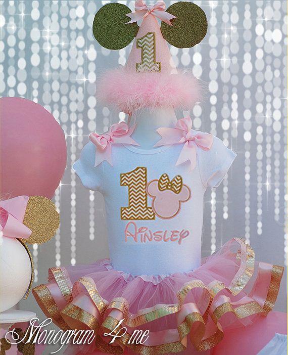 Conjunto de bebé Minnie Mouse rosa y Tutu oro por monogram4me