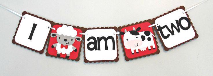 Barnyard Highchair Banner/ Farm/ John Deere/ Tractor/ First Birthday/ I am one/ I am two/ baby/ Birthday by Klutterella on Etsy