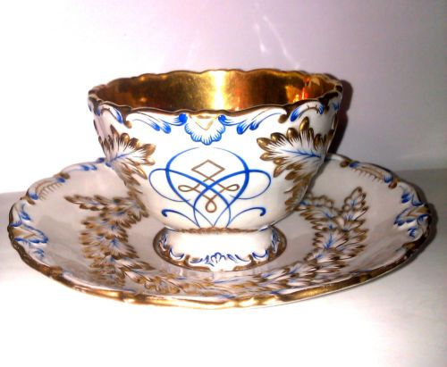 Antique German Porcelain Large Tea Cup/Saucer SCHLAGGENWALD 1840 Perfect!