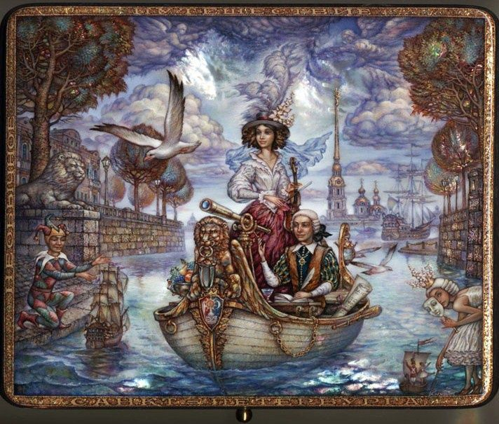 Magical Voyage Through the Channels of St. Petersburg by  Sergey Knyazev painted in 2013.  Fedoskino