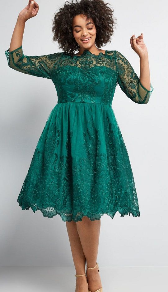 bb81106080 Plus Size Green Lace Cocktail Dresses - This emerald green plus size dress  by Chi Chi