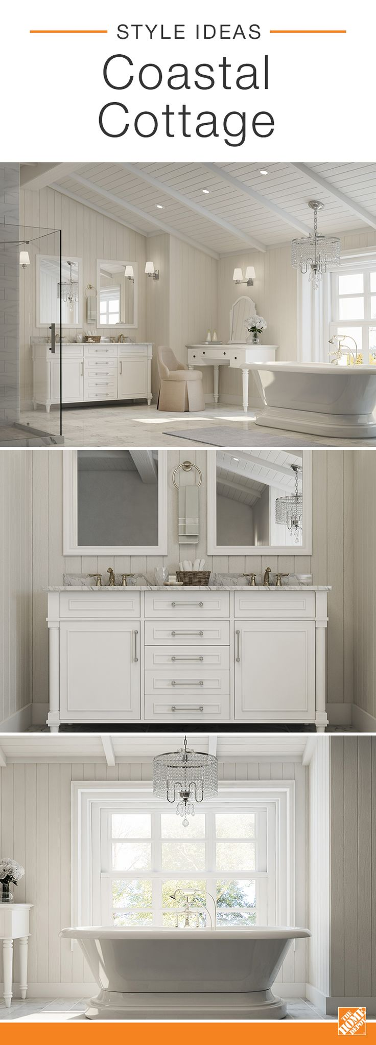 This coastal cottage bath uses a warm white color palette to make the most out of its natural lighting. With a traditional white wood vanity, Ultra Pure White BEHR paint, dreamy freestanding tub and marble tile, the master bath has a sophisticated style that feels light and airy. Click to learn more about this look.