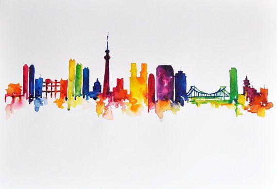 ORIGINAL Abstract Skyline Watercolor Painting by ArtCornerShop