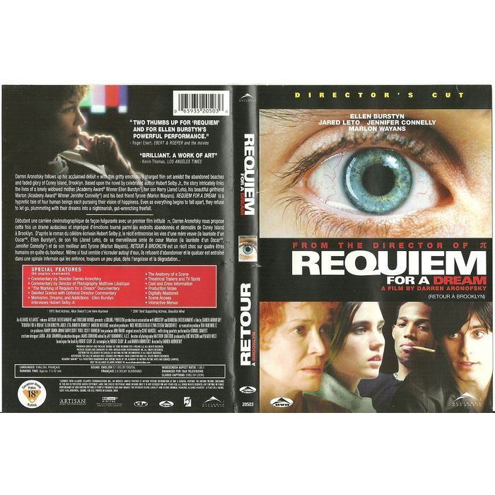 """Paper Label Artwork from DVD Case """"Requiem for a Dream"""" Label Only No DVD Listing in the Other,DVD,Movies & DVD Category on eBid Canada 