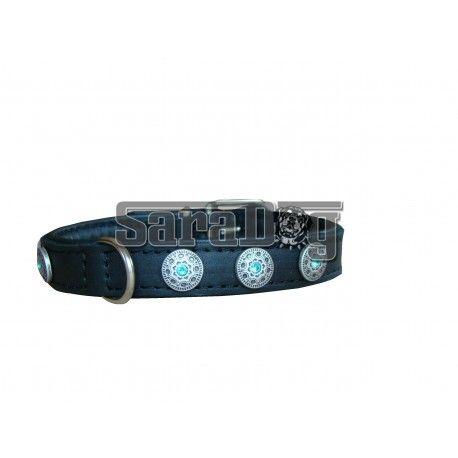 Zgarda din piele cu decoratiuni din argint 925 si cristale Swarovski albastre