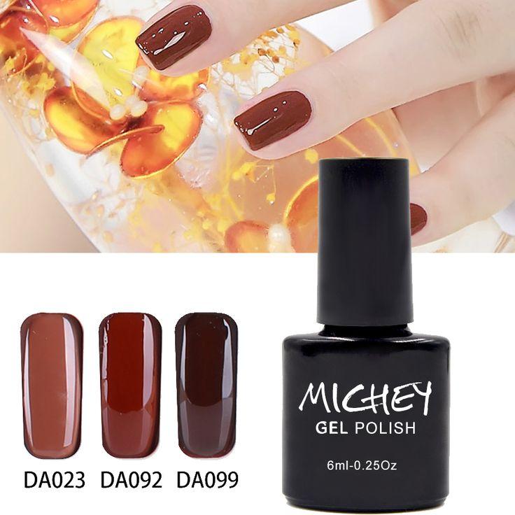 MICHEY Brown UV Nail Gel Polish Easy Saok Off  UV LED Nail Polish Lacquer Need Base Gel And Top Coat Gelpolish(DA080~DA108) #Affiliate