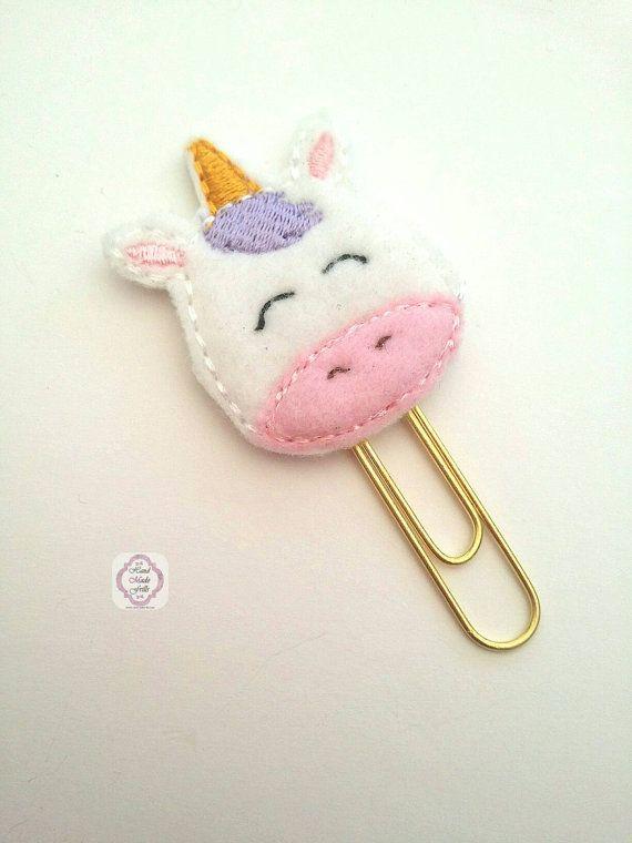 Unicorn Planner Clip Felt Paper clip for Erin by handmadefrillsuk