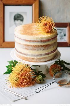 A delicious, easy to make naked cake recipe. With soft cinnamon layers and filled with a delicious South African inspired buttercream | Photography by Tasha Seccombe |