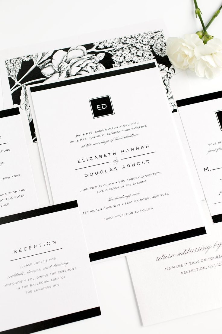 Floral Wedding Invitation in Black and White