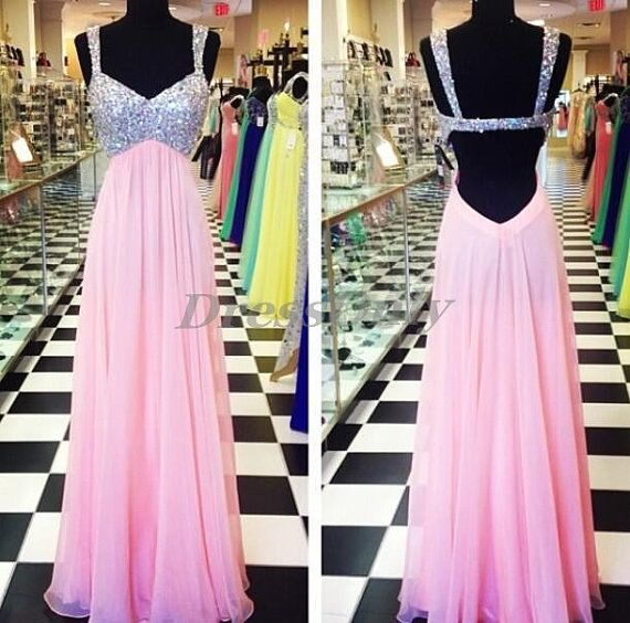 Backless Prom Dress Pink Tank Straps A Line Floor by DressOnly, $109.00