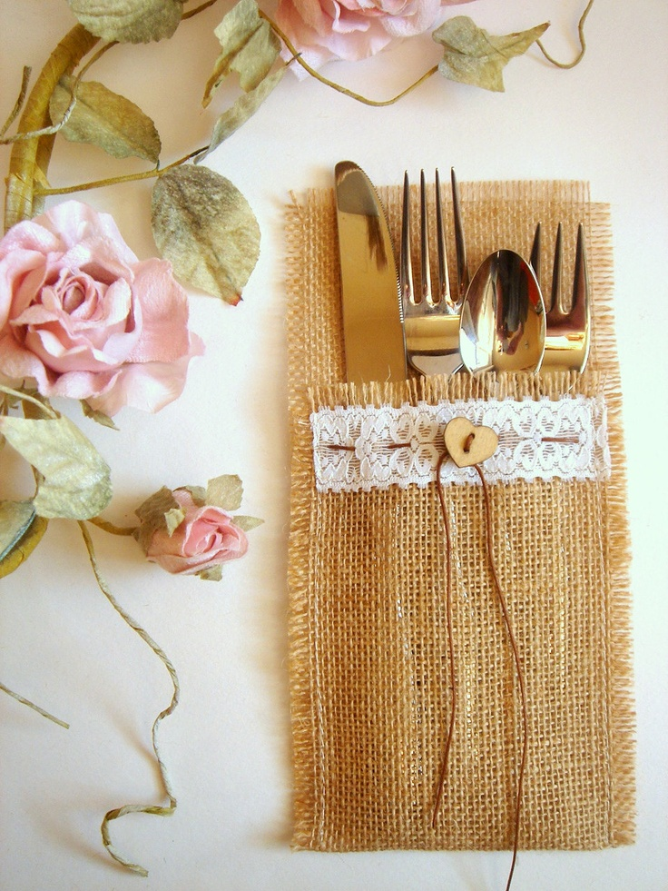 100 Eco friendly  Burlap Flatware Holders , Wedding Table Setting,Rustic Flatware Pockets. $185.00, via Etsy.