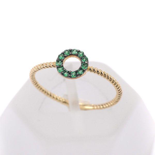 Δαχτυλίδι πράσινος κύκλος, χρυσό Κ14,ζιργκόν