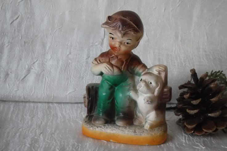 Bisque Figurine / Boy on Fence with Dog / Vintage 1960's / Made in Japan by OriginalVintageGypsy on Etsy