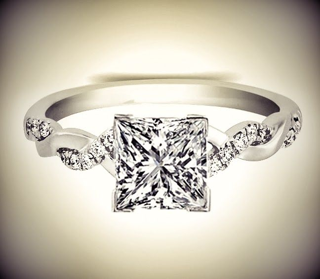 Princess Diamond Petite twisted pave band Engagement Ring